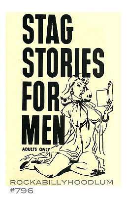Pin Up Girl Poster 11x17 Vintage Ad Stag Stories for Men Magazine Image