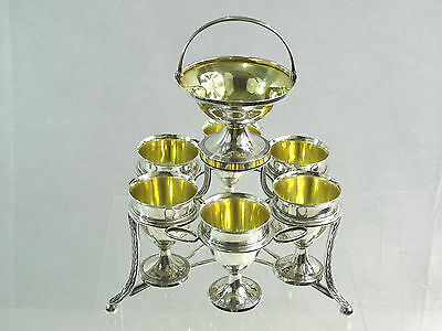 ANTIQUE ENGLISH GEORGIAN STERLING SILVER EGG CRUET SET cups stand LONDON 1802