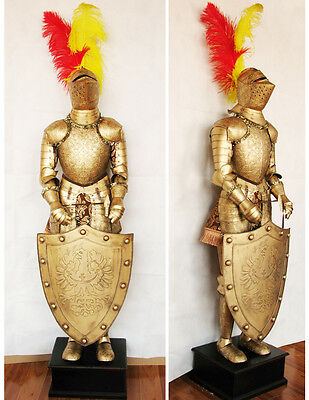 Medieval Crusader Knight in Suit of Armor & Shield 5.2'H Hand-made