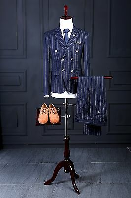 Custom Stripe Navy Blue Double-breasted Mens Wedding Tuxedo Groom Best Men Suits
