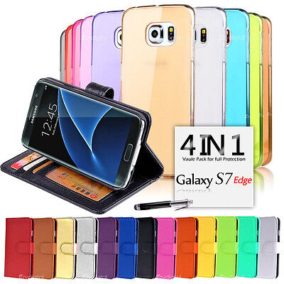 Wallet & Gel 4in1 Accessory Bundle Kit Case Cover For Samsung Galaxy S7 edge