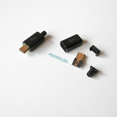 5X Micro USB 5 Pin Type-B Male 4-Piece Solder Golden Connector Plug Black Cover