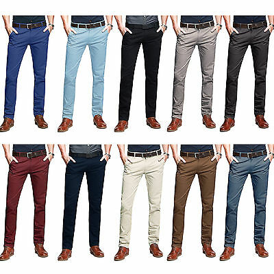 Mens Chino Trousers Slim Fit Casual Jeans Cotton Designer Stallion Khakis New