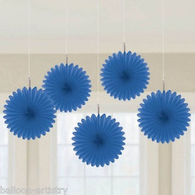 5 Classic Royal Blue Wedding Birthday Party Hanging Mini Paper Fans Decorations