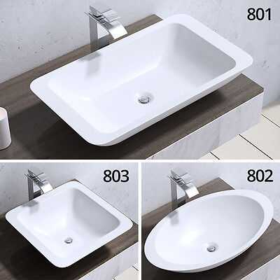 Durovin Solid Stone CounterTop Basin Sink Rectangle Square Oval Round White New
