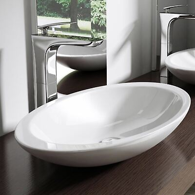 Durovin Bathroom Oval Round Mineral Cast Stone Countertop Basin Sink Bowl 802