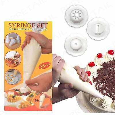 20 Disposable Icing Piping Bags + 3 ASSORTED NOZZLES Cupcake Cake Decorating Set