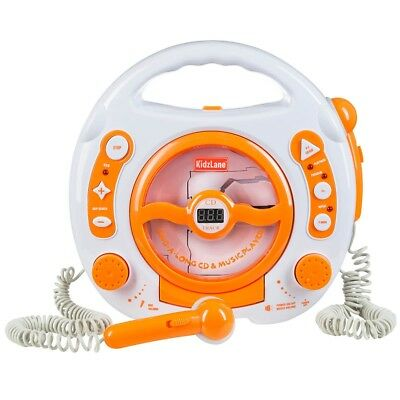 Kids Portable Sing Along CD, MP3 with 2 Microphones, Orange