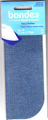 """BONDEX 2 PIECES FADED BLUE DENIM  5"""" x 7""""  IRON ON MENDING PATCHES, NO SEW"""
