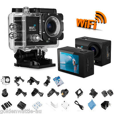 "2.0"" Full HD 1080P Waterproof Helmet Action Sports Camera 12MP WiFi Night Vision"