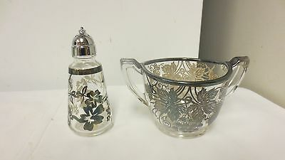 Lot 2 Older Elegant Silver Overlay Clear Glass: Sterling Shaker-Grape Sugar bowl