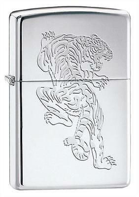 Asian Tiger Big Cat ~ Laser Engraved Polished Chrome Zippo Lighter