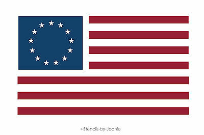Joanie Stencil Patriotic Americana Flag 13 Stars Circle Ring Betsy Ross 4th July