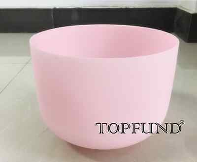 Pink F Heart Chakra frosted Quartz Crystal Singing Bowl 8''+Mallet+O-ring