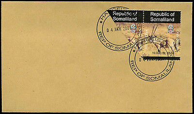Somaliland 2001 African Oryx + Bisect Stamp Cover #C33846