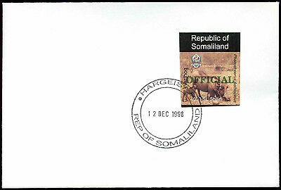 Somaliland 1998 Warthog,  Official Imperf Green Overprint, Cover #C33731