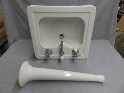Vtg White Porcelain Peg Leg Sink Old Bathroom Madbury Plumbing Fixture 349-16