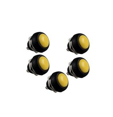 10 pcs Yellow 12mm Waterproof Momentary ON/OFF Push Button Mini Round Switch