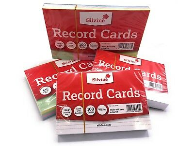 Revision/Flash/Index Silvine Record Cards - White/Ruled/Coloured FREE P&P