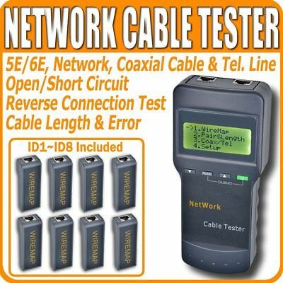 AU Network Cable Tester LAN Phone Wire Meter Cat5 RJ45 Mapper 8 Far End Jack
