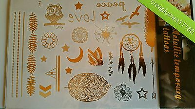 Tattoo Tatouage Temporaire Autocollant Sticker Métallique Bijou Body Art
