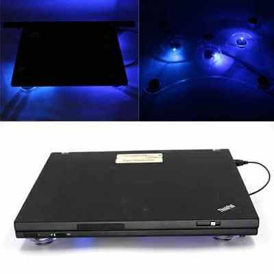 Blue LED Lights 3 Fans USB Laptop Notebook Cooler Cooling Pad Fan Stand 10-15""