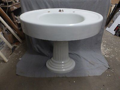 Large Antique Cast Iron White Porcelain Oval Pedestal Sink Old Vtg 352-16