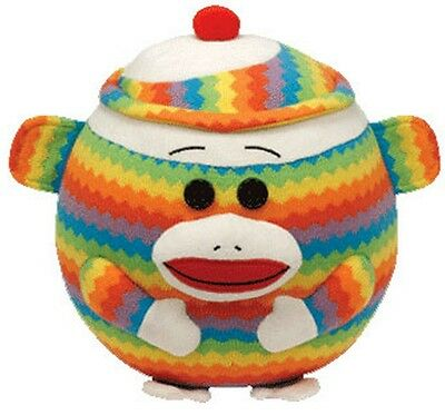 Ty Beanie Ballz 8'' Plush ZIG ZAG the Socks Monkey Ball ~NEW~