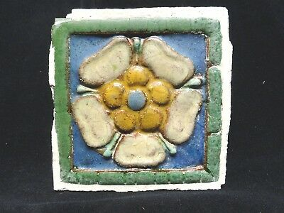 VERY RARE ** Grueby Pottery Tile ** (4 COLOR) ** FLOWER TILE ** (SAVE U FRAME)