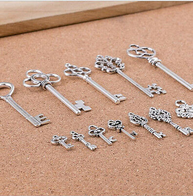 13 Mixed Antique Tibetan Silver Key Charm Steampunk Pendant Jewelry Craft Making