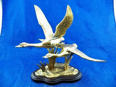 Vintage Brass Flying Canadian Geese On Wooden Base Great Quality Classic EUC