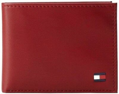 New Tommy Hilfiger Dore Red Leather Passcase Credit Card Billfold Men's Wallet