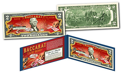 "BACCARAT Casino Game Asian *Lucky Money""  Legal Tender U.S. $2 Bill w/ Display"