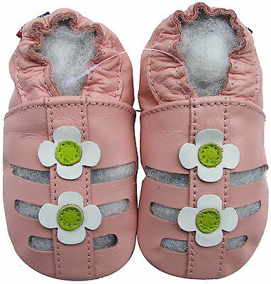 carozoo sandals pink white flower 2-3y soft sole leather baby slippers