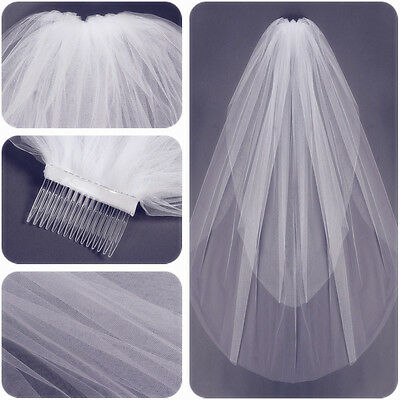 2 Layers White Ivory Length Cut Edge Tulle Bridal Elbow Veil Wedding With Comb