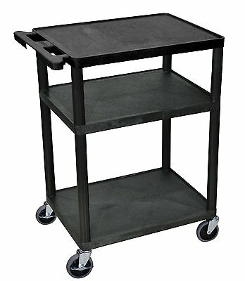 Luxor 3 Shelf AV Presentation Cart, Black - LP34-B New