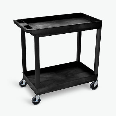 Luxor EC11-B EC-series Utility Tub Cart with 2-Shelves in Black, 400-lb Capacity