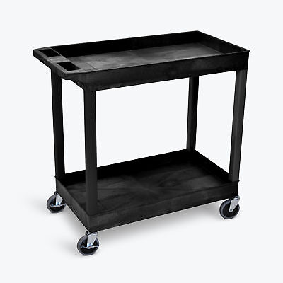 Luxor EC11-N EC-series Utility Tub Cart with 2-Shelves in Black, 400-lb Capacity