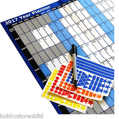 2017 Year Planner Yearly Wall Planner A1 Wall Calendars Laminated with Pen+Dots