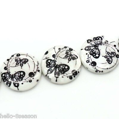 1 Hello Strand New Shell Loose Beads Black Butterfly Printed Round White