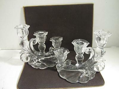 BEAUTIFUL Antique Vintage Pair of CRYSTAL CANDLESTICKS 3 Candle Holders