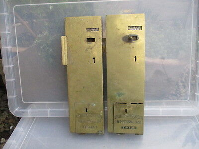 Antique Brass Public Toilet Door Lock Vintage Engaged Penny Lockerbie &Wilkinson