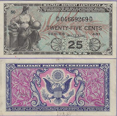 Military Payment Certificate 25 Cents Note Series 481 1951-1954 Extra Fine