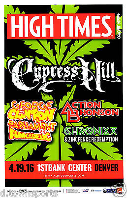 High Times 2016 Concert w CYPRESS HILL, George Clinton - Denver 11x17 Gig Poster