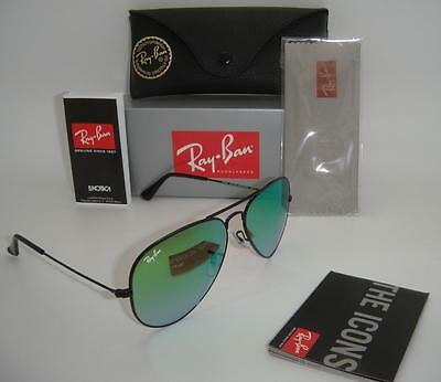 Ray-Ban Aviator RB 3025 002/4J 58mm Black Frame Green Gradient Mirror Lenses