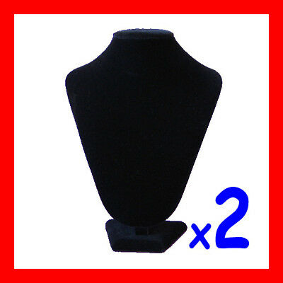 RELIABLE 2X Necklace Display Bust Black Velvet-PADDED-23cm | AUSSIE Seller