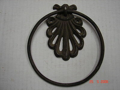 "Rustic Cast Iron Towel Ring - 6"" Ring - Wall Mount"
