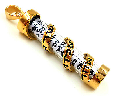 Gold Filled MEZUZAH PENDANT With SCROLL Parchment Jewish Shema Israel Blessing