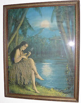 Hawaiian Pin Up Hula Girl W/ Ukelele Antique Print Art