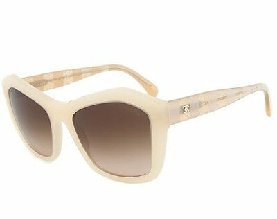 04b02cb4549d8 Chanel Womens Sunglasses 5296 1486 S5 Beige Lace Frame Italy New Authentic